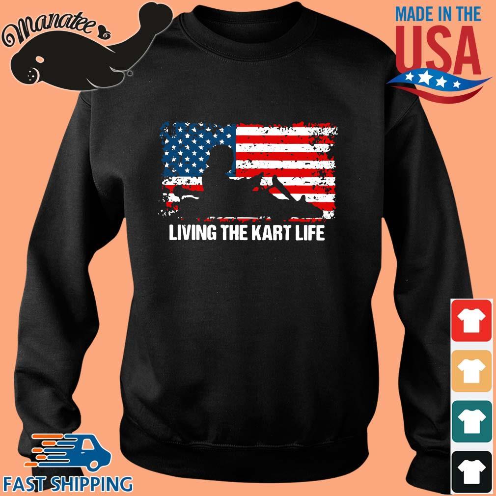 American flag living the kart life s Sweater den