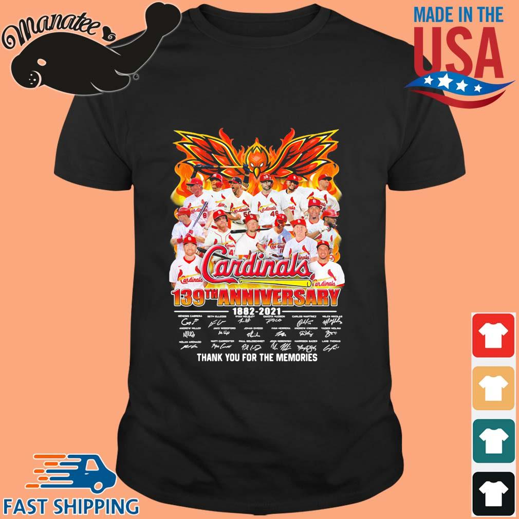 Cardinals 139th anniversary 1882-2021 thank you for the memories signatures shirt