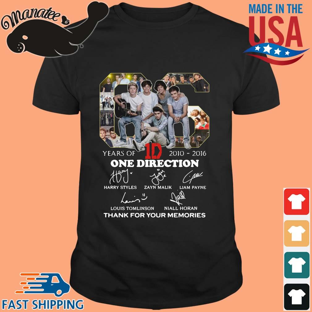 06 years of 2010-2016 One Direction thank you for the memories signatures shirt
