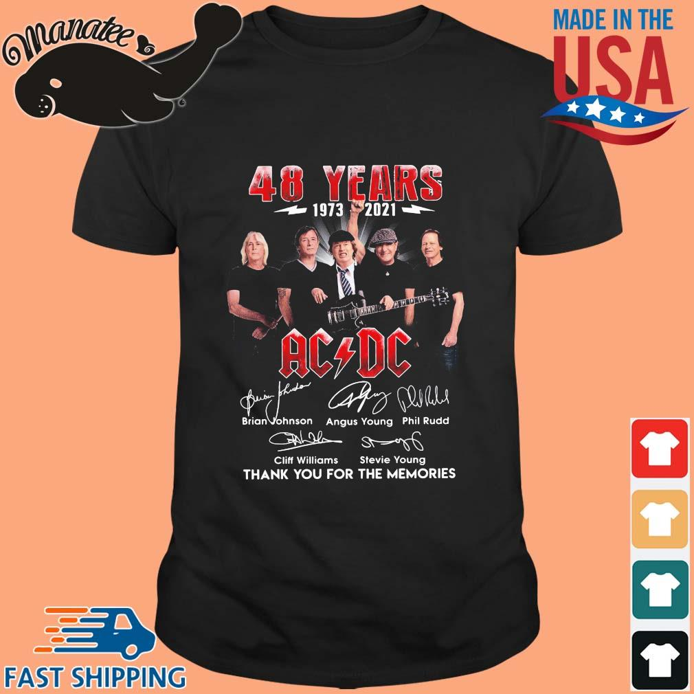48 years 1973-2021 AC DC thank you for the memories signatures shirt