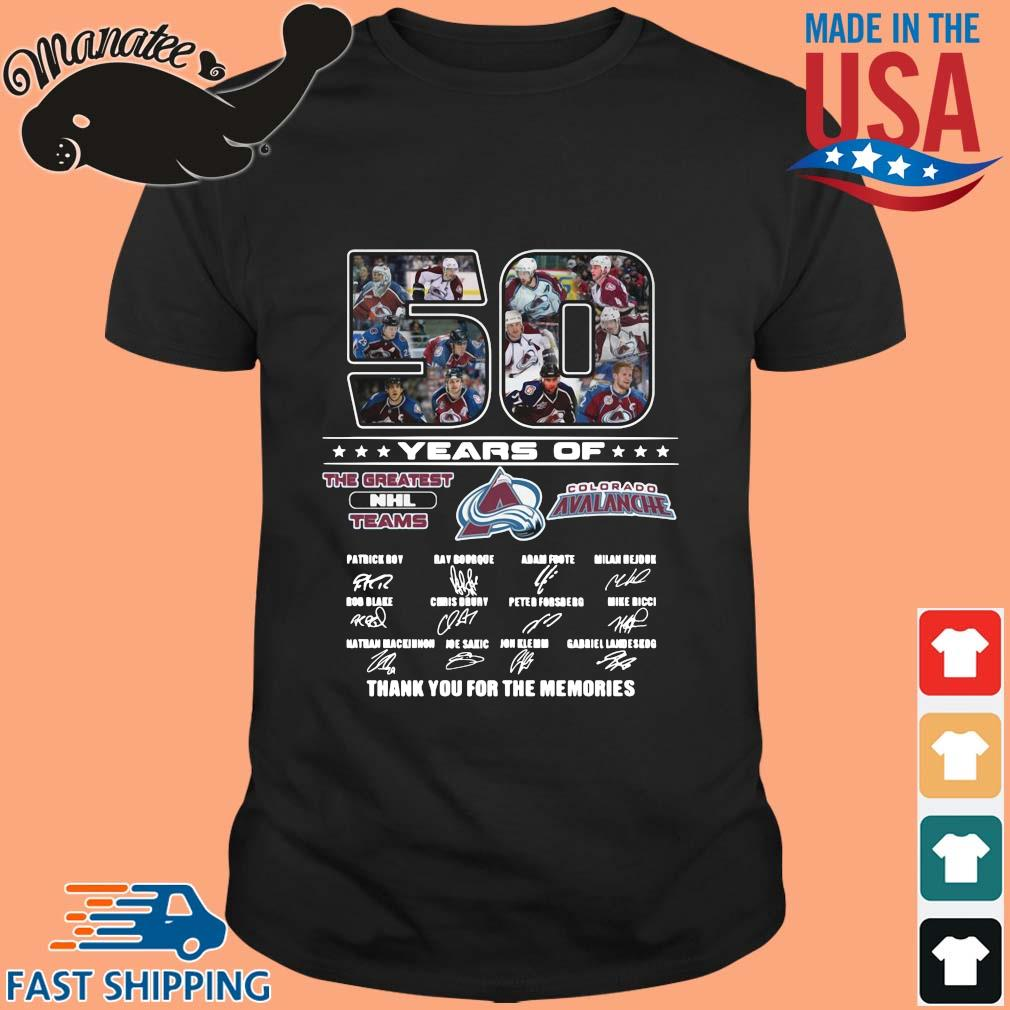 50 years of the greatest NHL teams Colorado Avalanche signatures thank you for the memories shirt