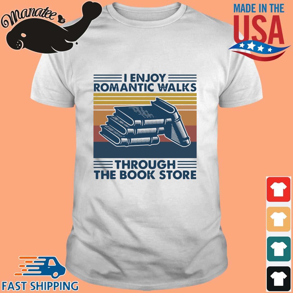 I enjoy romantic walks through the bookstore vintage shirt