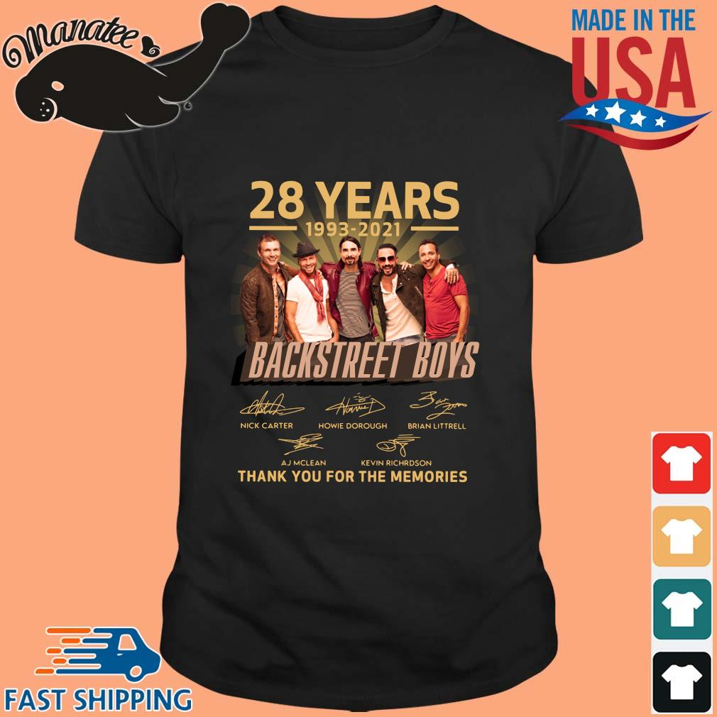 28 years 1993-2021 Backstreet Boys thank you for the memories signatures shirt