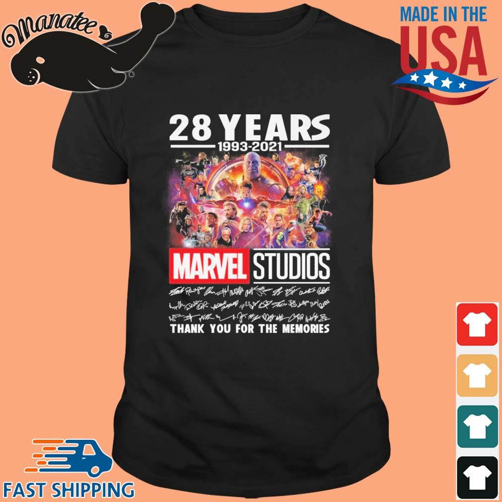 28 years 1993-2021 Marvel Studios thank you for the memories signatures shirt