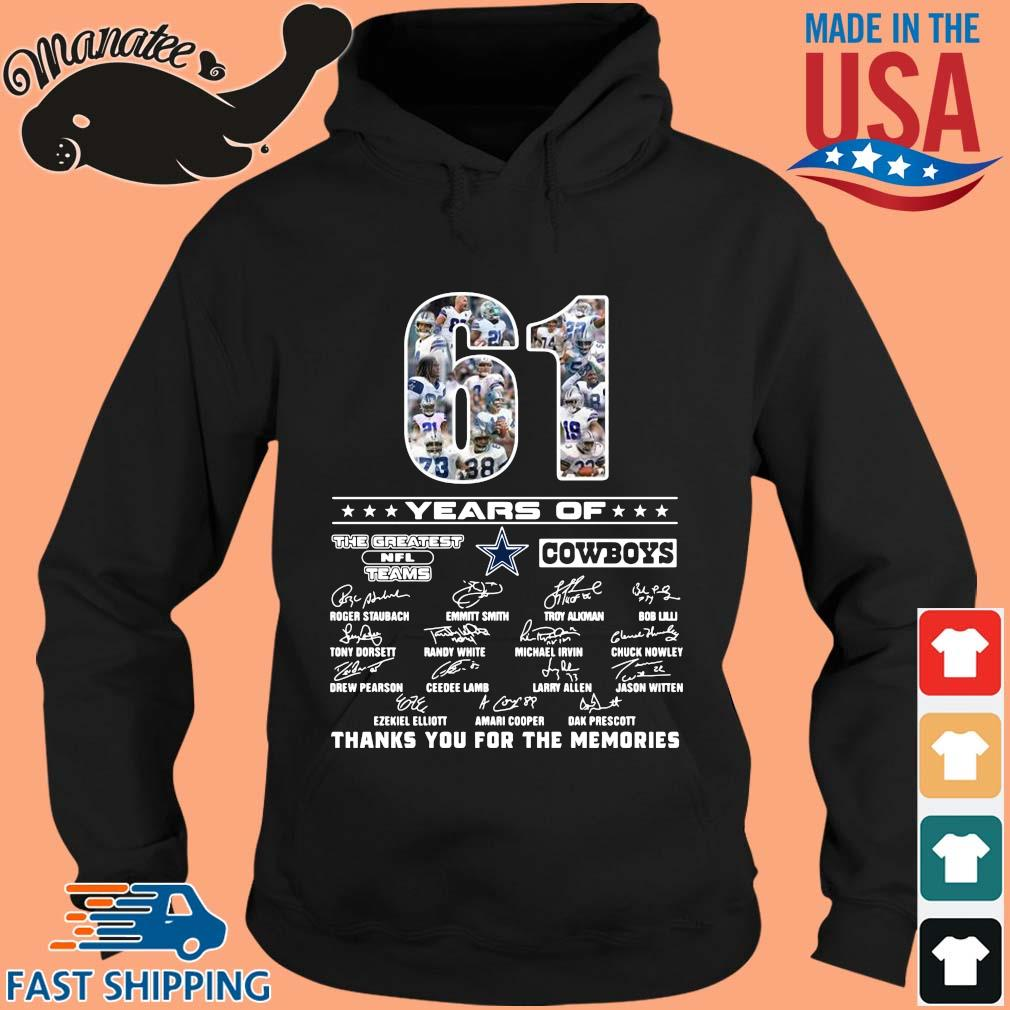 61 years of The Greatest NFL Teams Cowboys thank you for the memories signatures s hoodie den