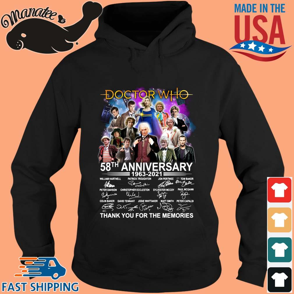 Doctor Who 58th anniversary 1963-2021 thank you for the memories signatures s hoodie den