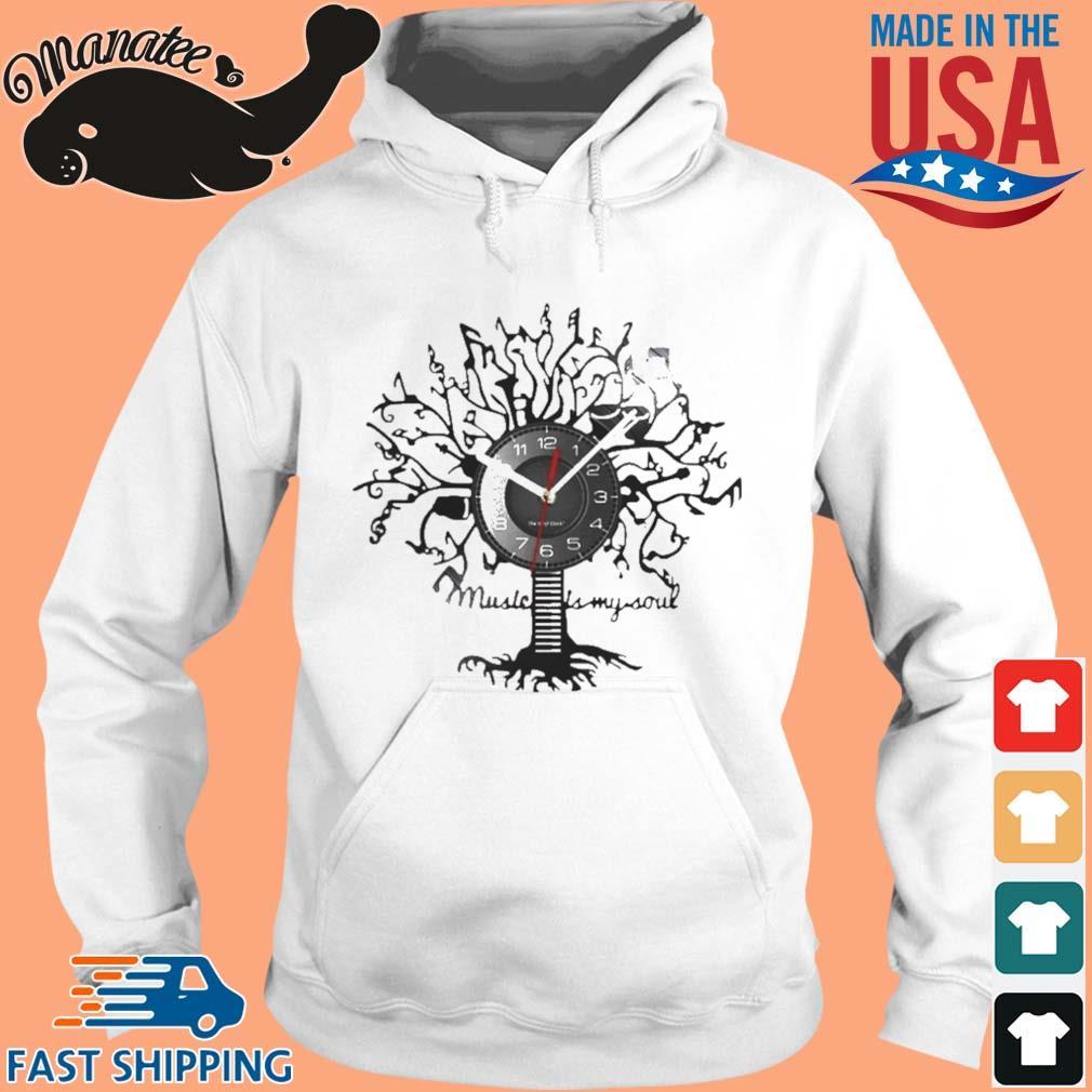 Music Is My Soul Tree Wall Clock Shirt hoodie trang