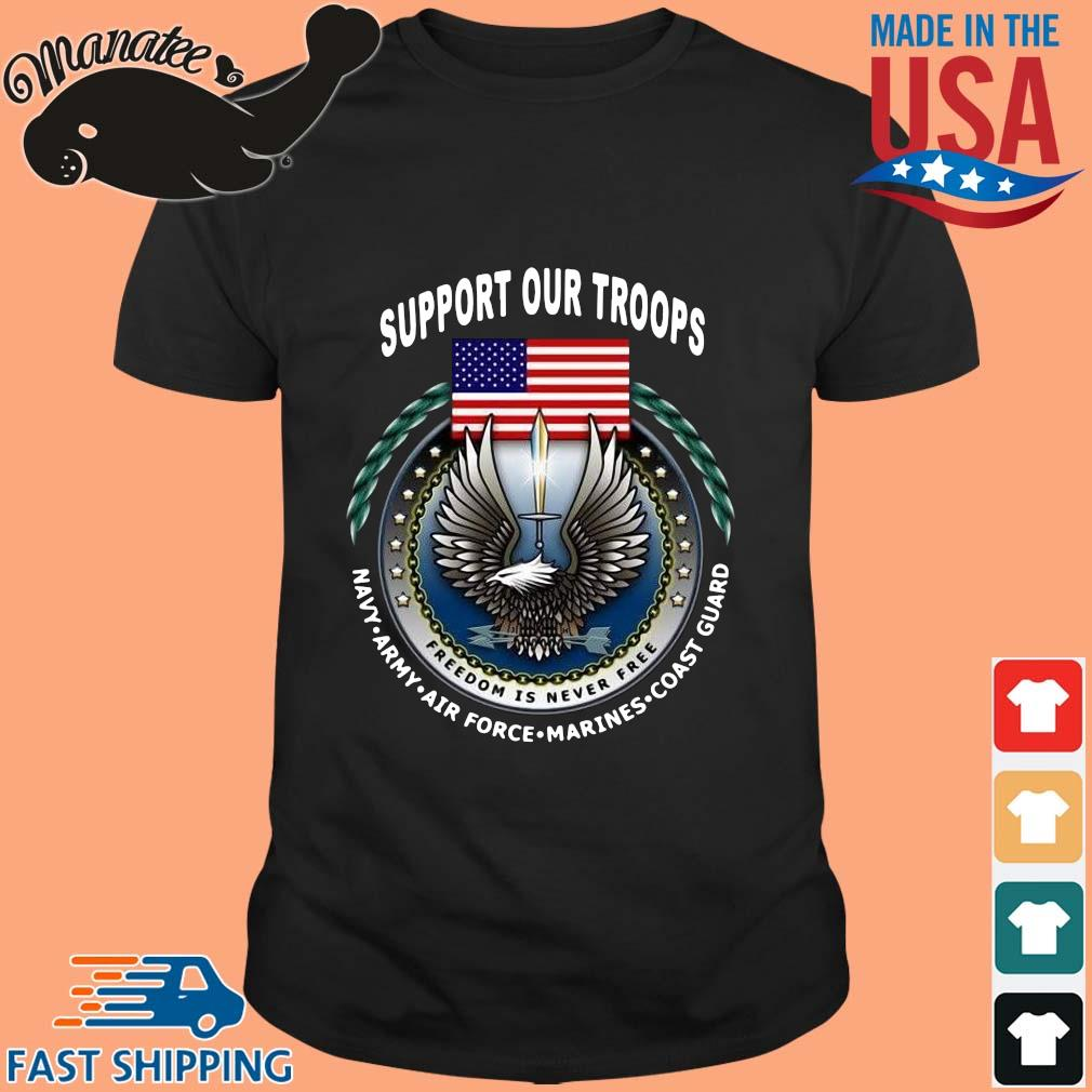 Support our troops navy army American flag shirt