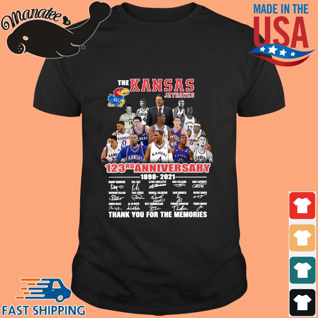 The Kansas Jayhawks 123rd anniversary 1989-2021 thank you for the memories signatures shirt