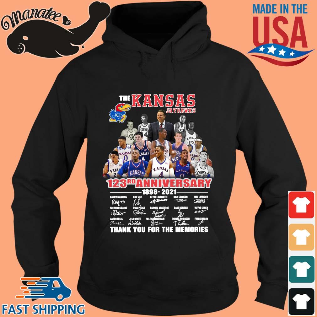 The Kansas Jayhawks 123rd anniversary 1989-2021 thank you for the memories signatures s hoodie den