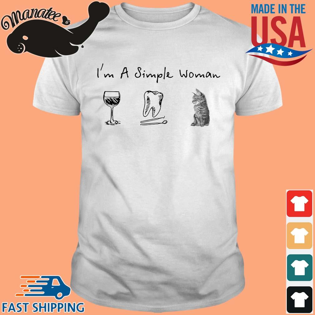 I'm a simple woman wine teeth cat shirt