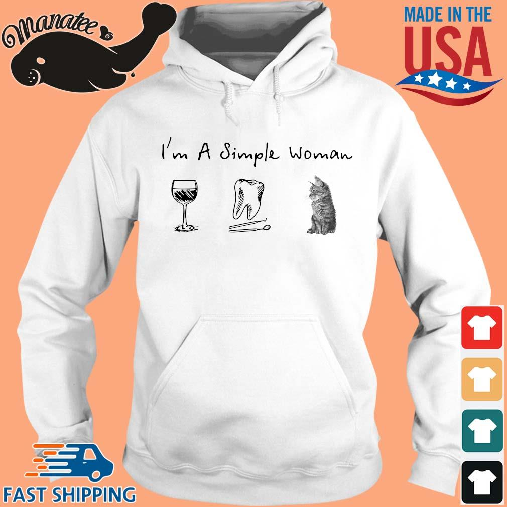 I'm a simple woman wine teeth cat s hoodie trang