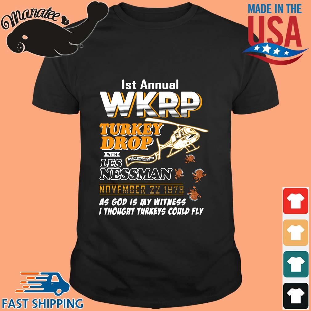 1st annual wkrp turkey drop with Les Nessman November 22 1978 tee shirt