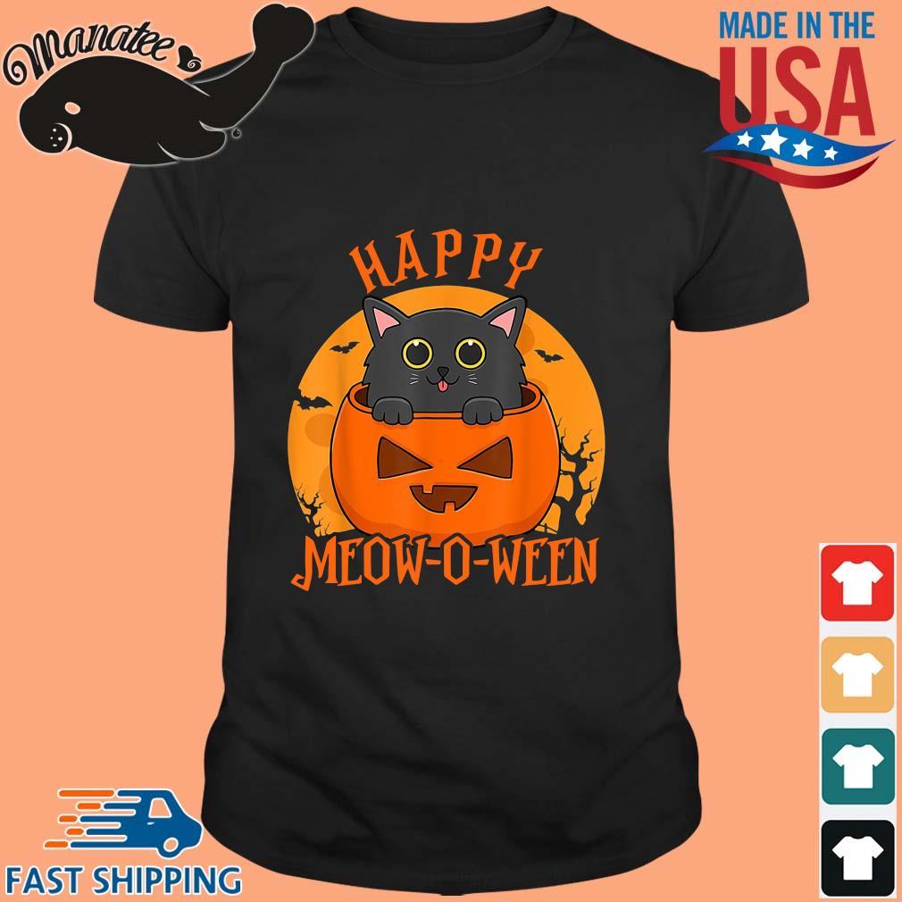 Black cat happy meow o ween blood Moon Halloween shirt