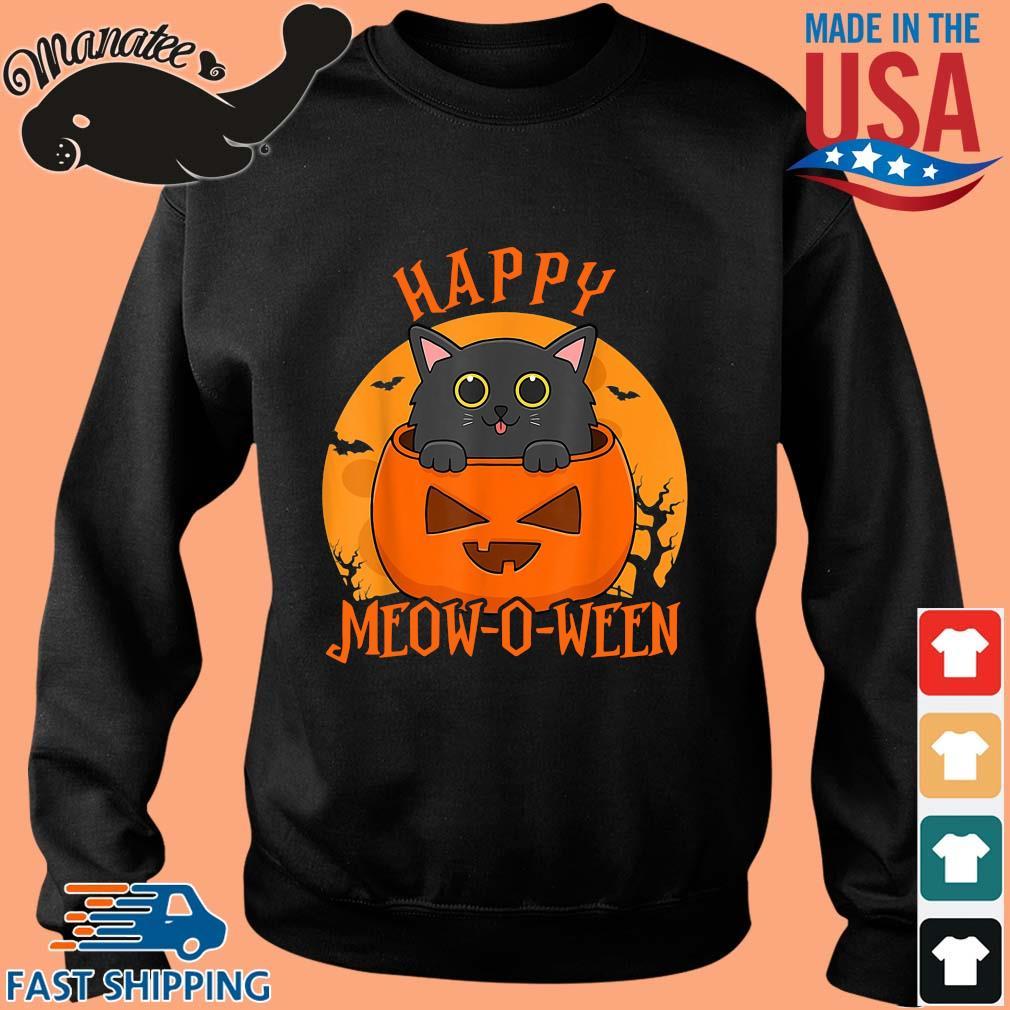 Black cat happy meow o ween blood Moon Halloween s Sweater den