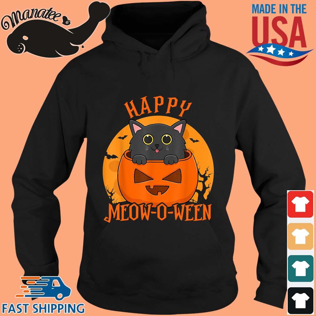Black cat happy meow o ween blood Moon Halloween s hoodie den