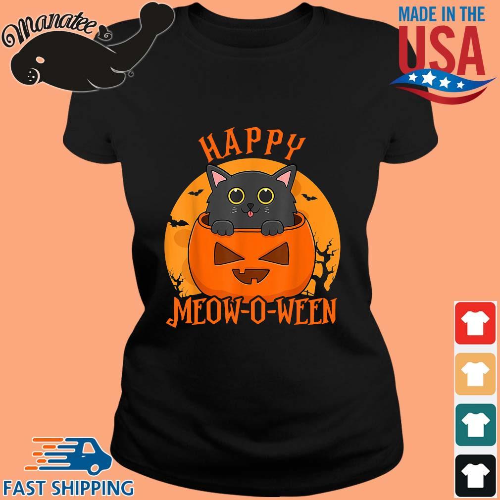 Black cat happy meow o ween blood Moon Halloween s ladies den