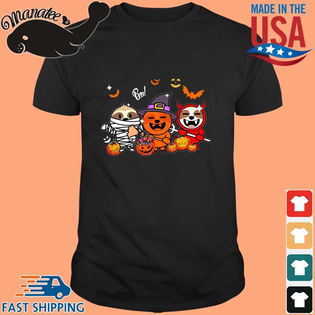 Boo Sloths Pumpkin Ghost Halloween shirt