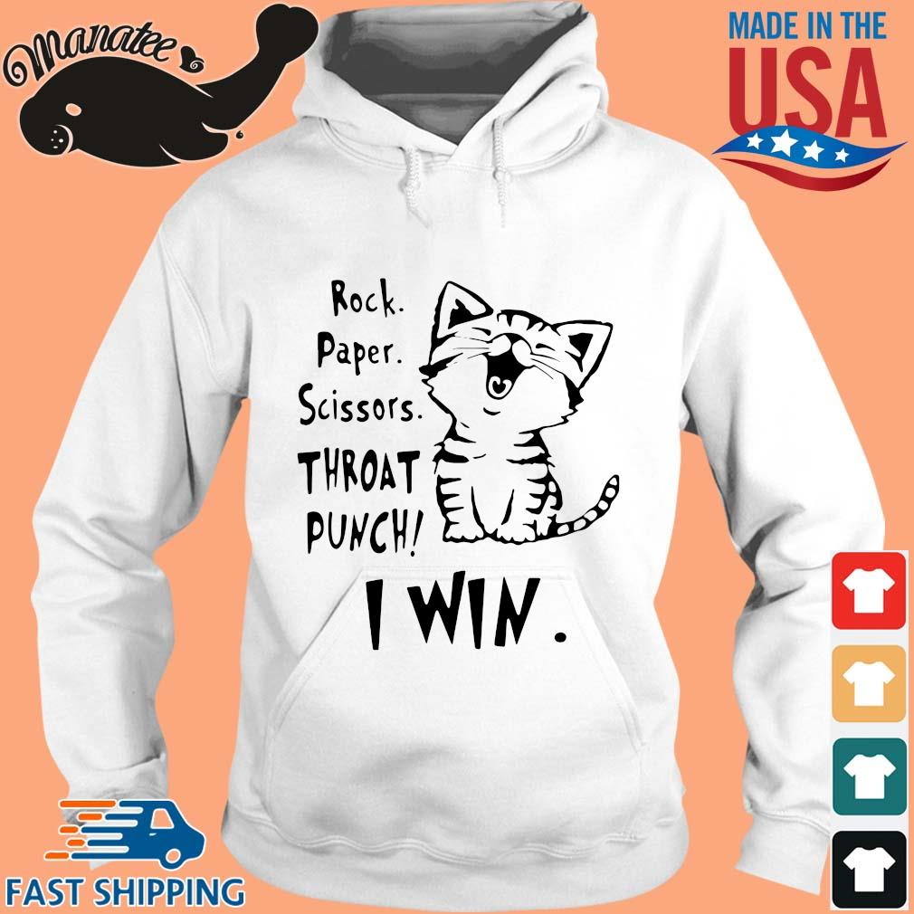 Cat rock paper scissors throat punch I win s hoodie trang