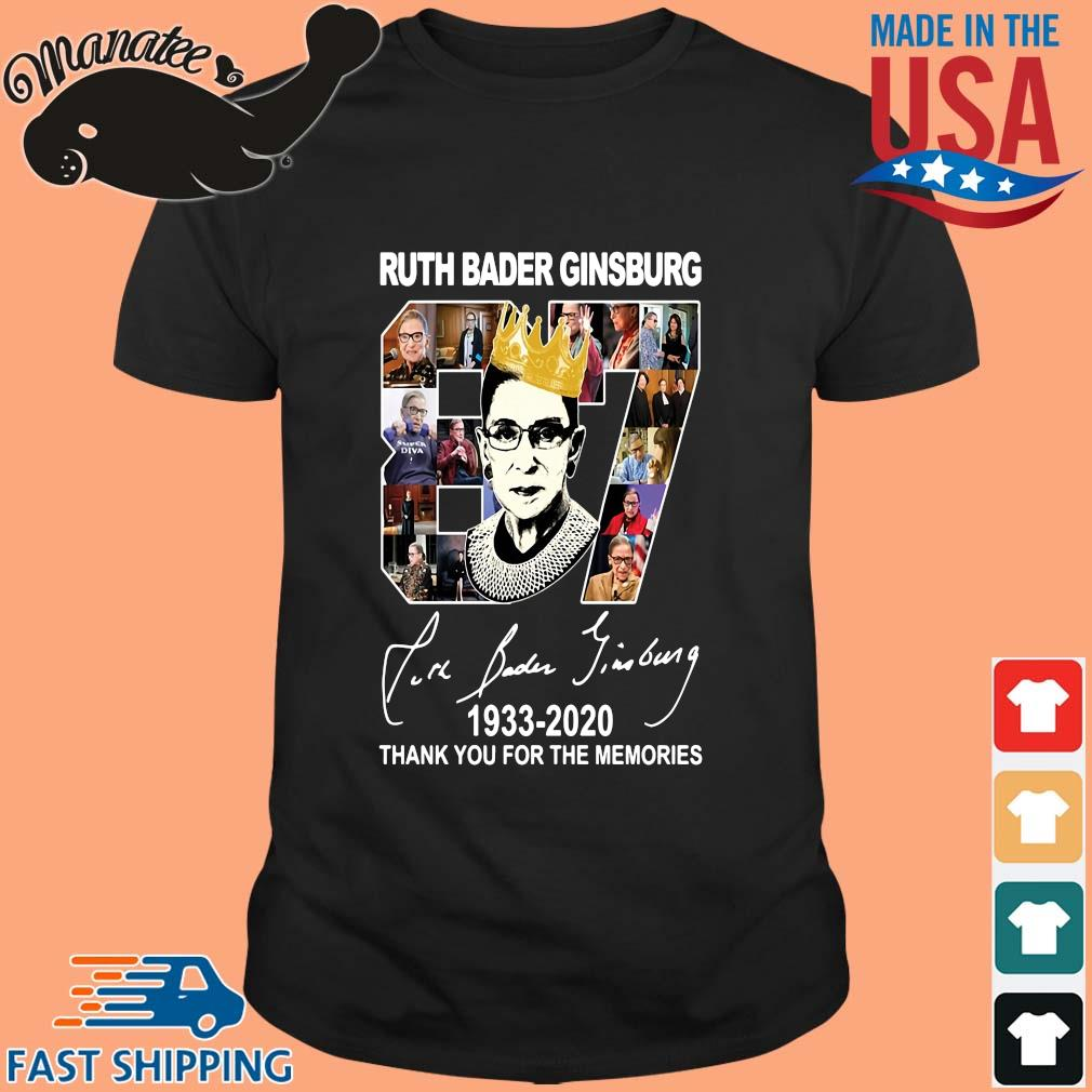 Ruth Bader Ginsburg crown 87 years 1933 2020 thank you for the memories signature shirt