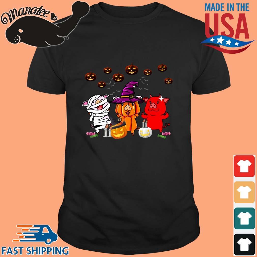 Three pigs witches pumpkin Halloween shirt