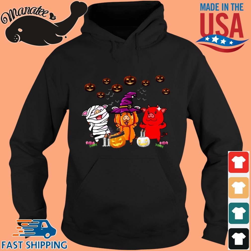 Three pigs witches pumpkin Halloween s hoodie den