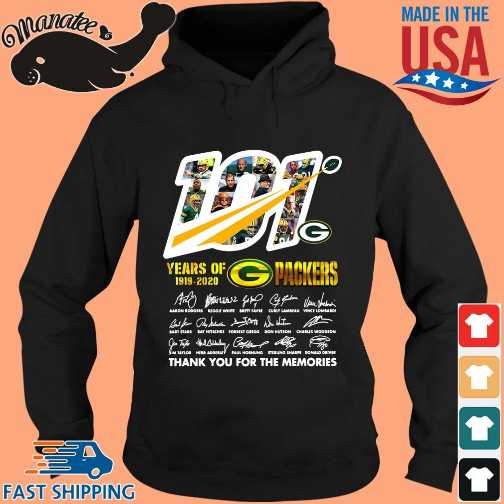 100 years of 1919-2020 Green Bay Packers thank you for the memories signatures s hoodie den