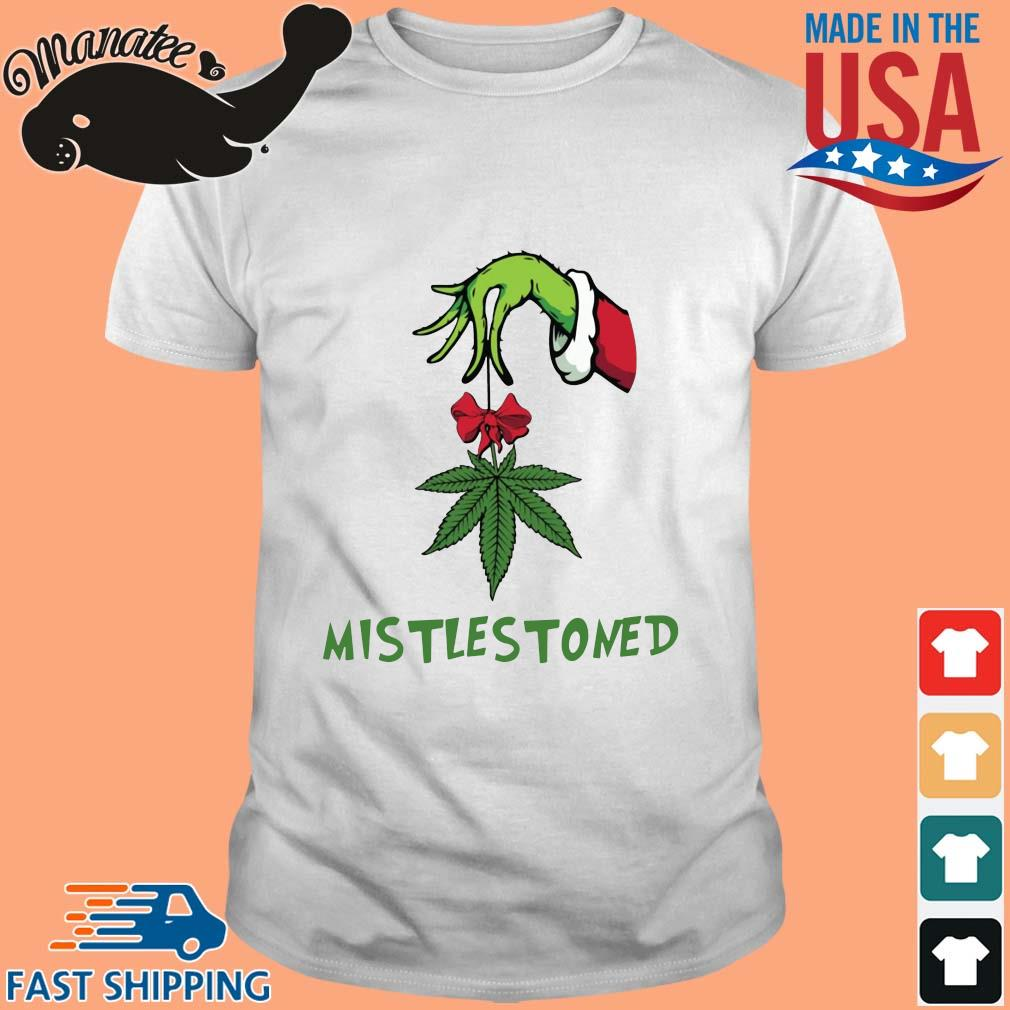 Grinch hand holding weed mistlestoned Christmas sweater