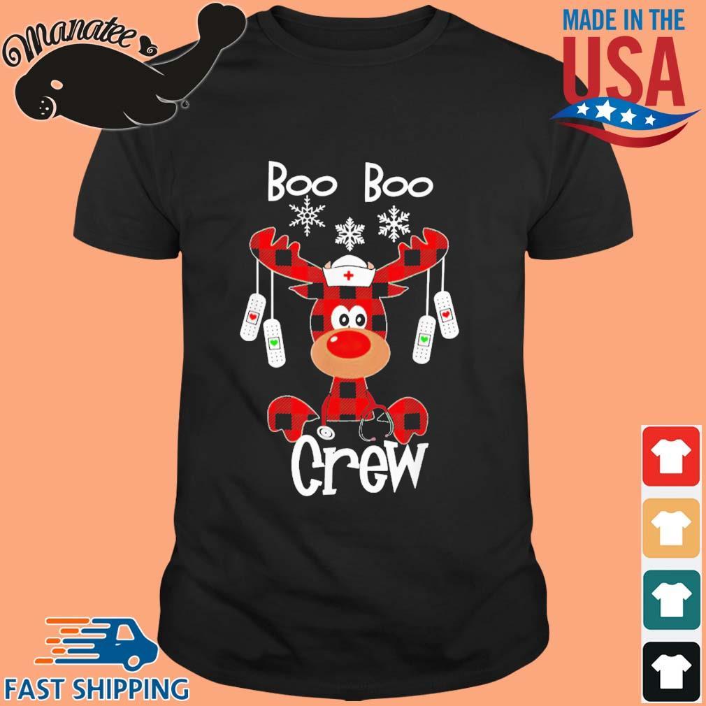 Reindeer Buffalo Plaid Boo Boo Crew Nurse Christmas sweater