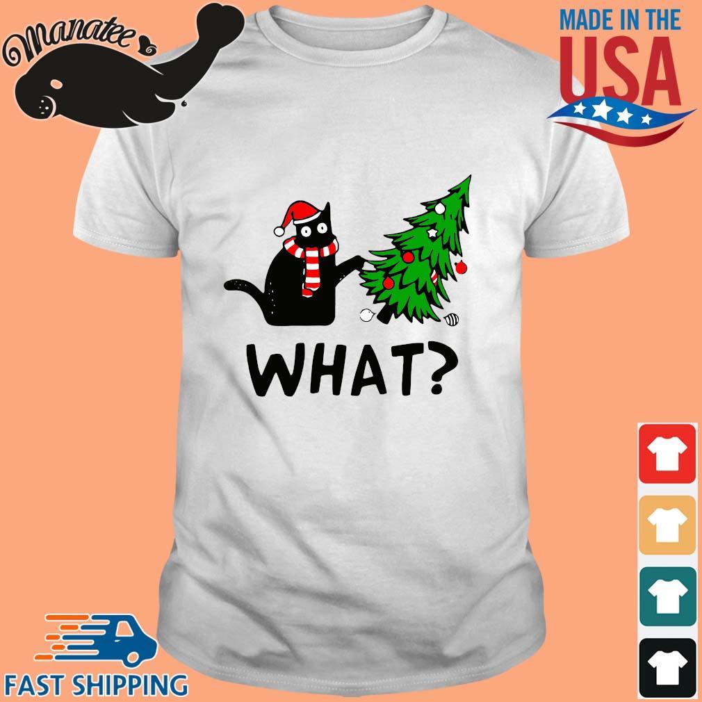 Santa black cat what Christmas tree sweater
