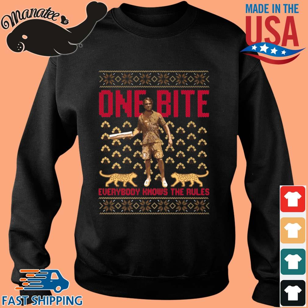 Daddy Dave and Franky from one bite pizza everybody knows the rules ugly Christmas sweater