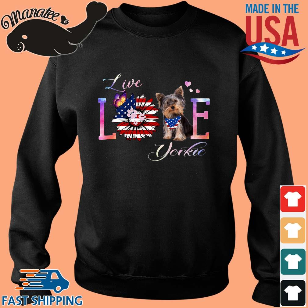 Yorkshire terrier live love paw sunflower American flag veteran independence day shirt