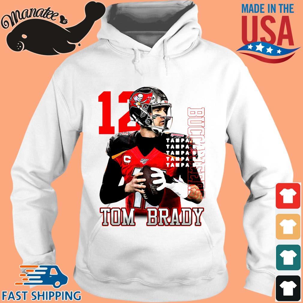 12 Tom Brady Tampa Bay Buccaneers T-Shirt hoodie trang
