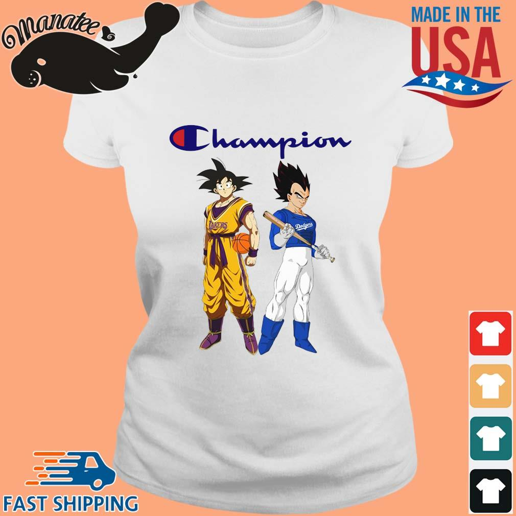 Son Goku and Vegeta Champions Los Angeles Dodgers and Los Angeles Lakers sweater Ladies trang