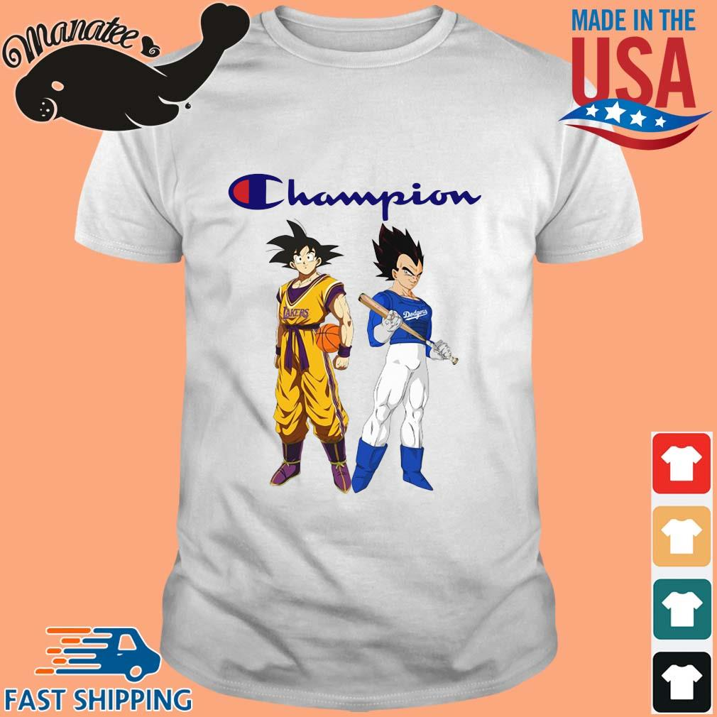 Son Goku and Vegeta Champions Los Angeles Dodgers and Los Angeles Lakers sweater Shirt trang