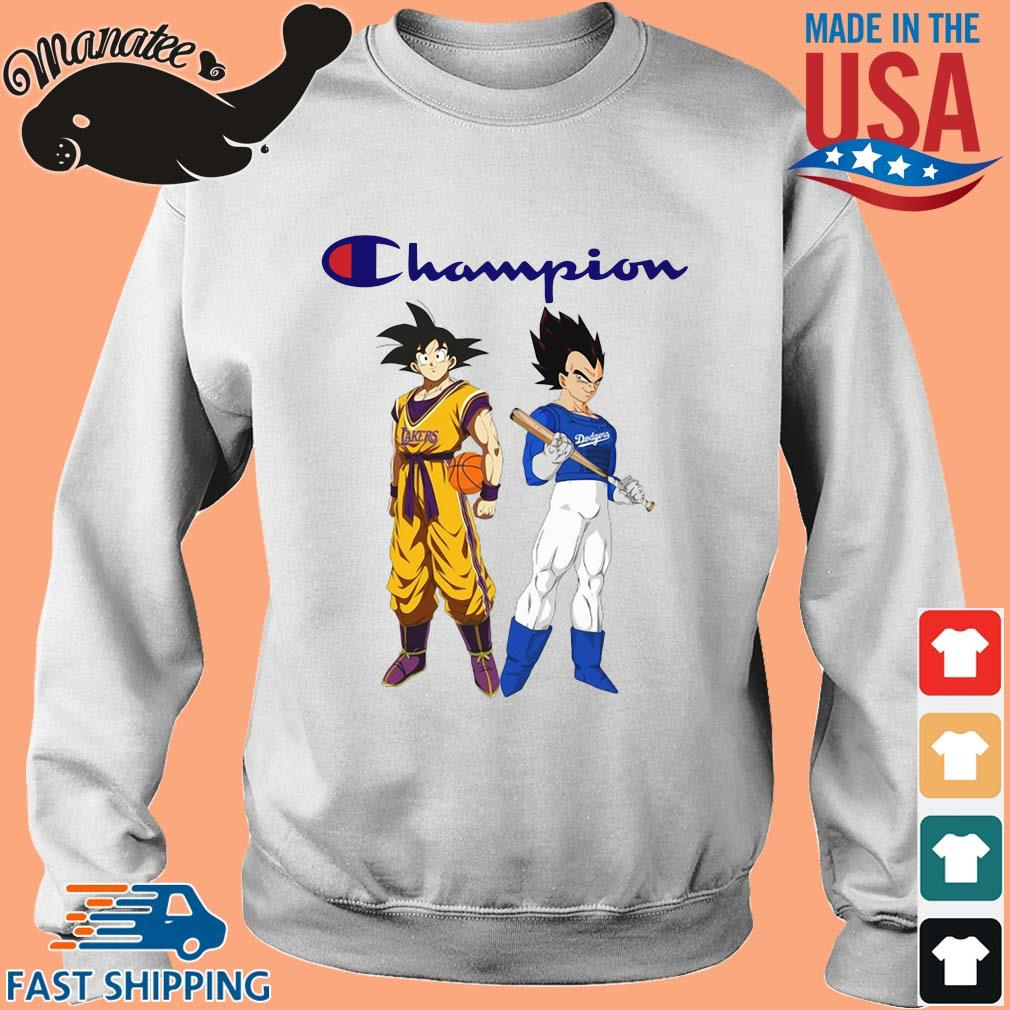 Son Goku and Vegeta Champions Los Angeles Dodgers and Los Angeles Lakers sweater