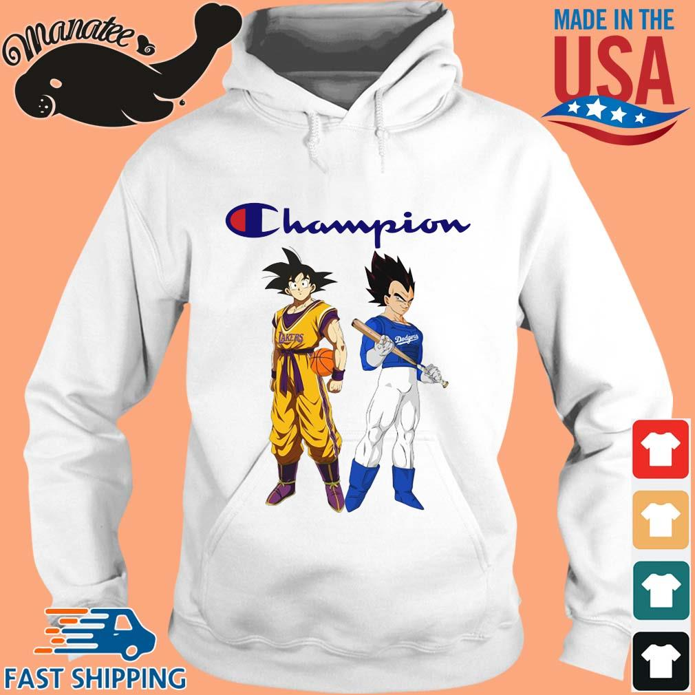 Son Goku and Vegeta Champions Los Angeles Dodgers and Los Angeles Lakers sweater hoodie trang