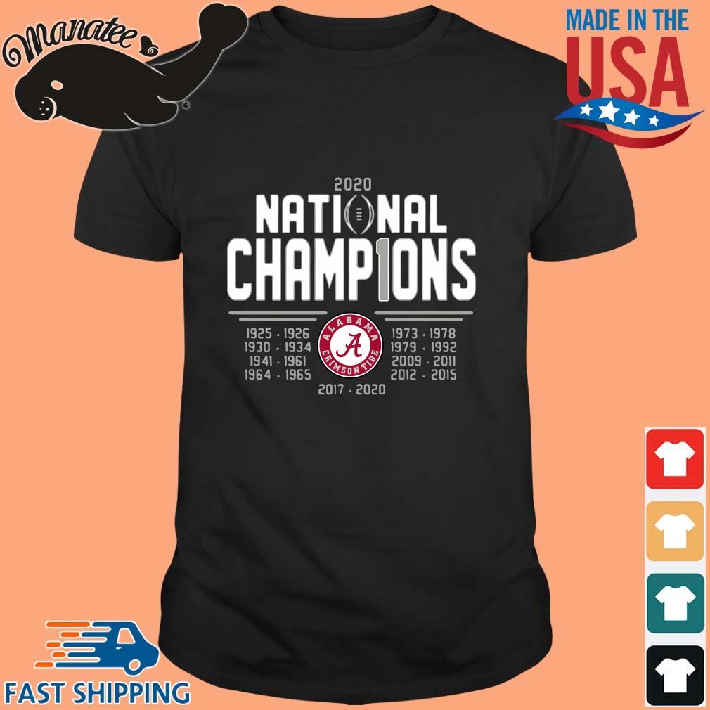Alabama Crimson Tide 2020 national champions 2017-2020 tee shirt