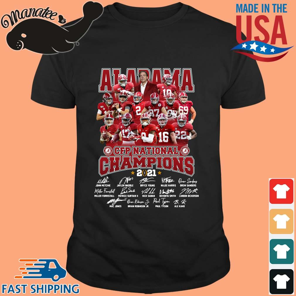 Alabama Crimson Tide CFP national Champions 2021 signatures t-shirt