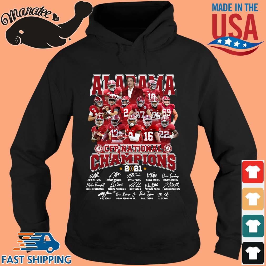 Alabama Crimson Tide CFP national Champions 2021 signatures t-s hoodie den