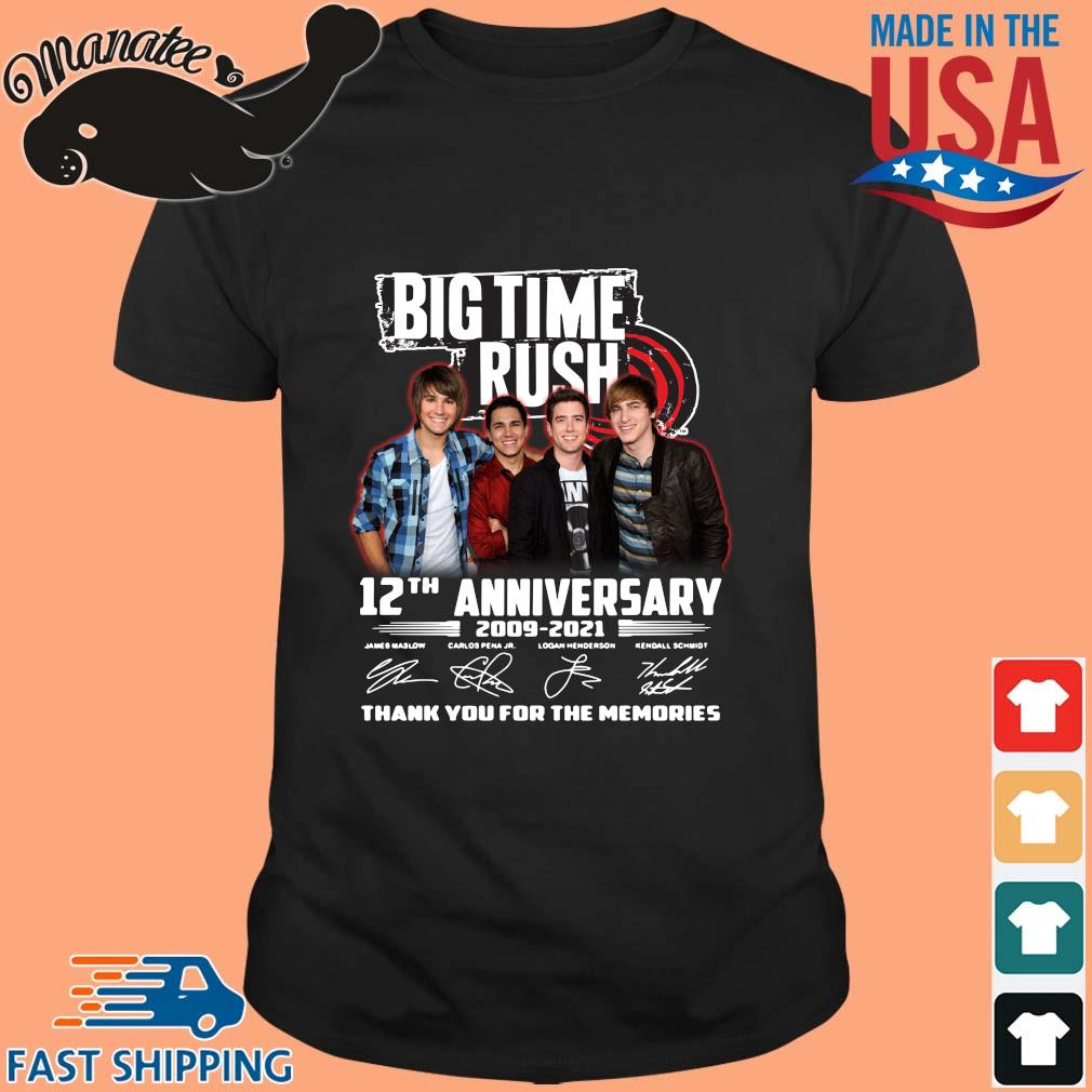 Big Time Rush 12th anniversary 2009-2021 thank you for the memories signatures shirt