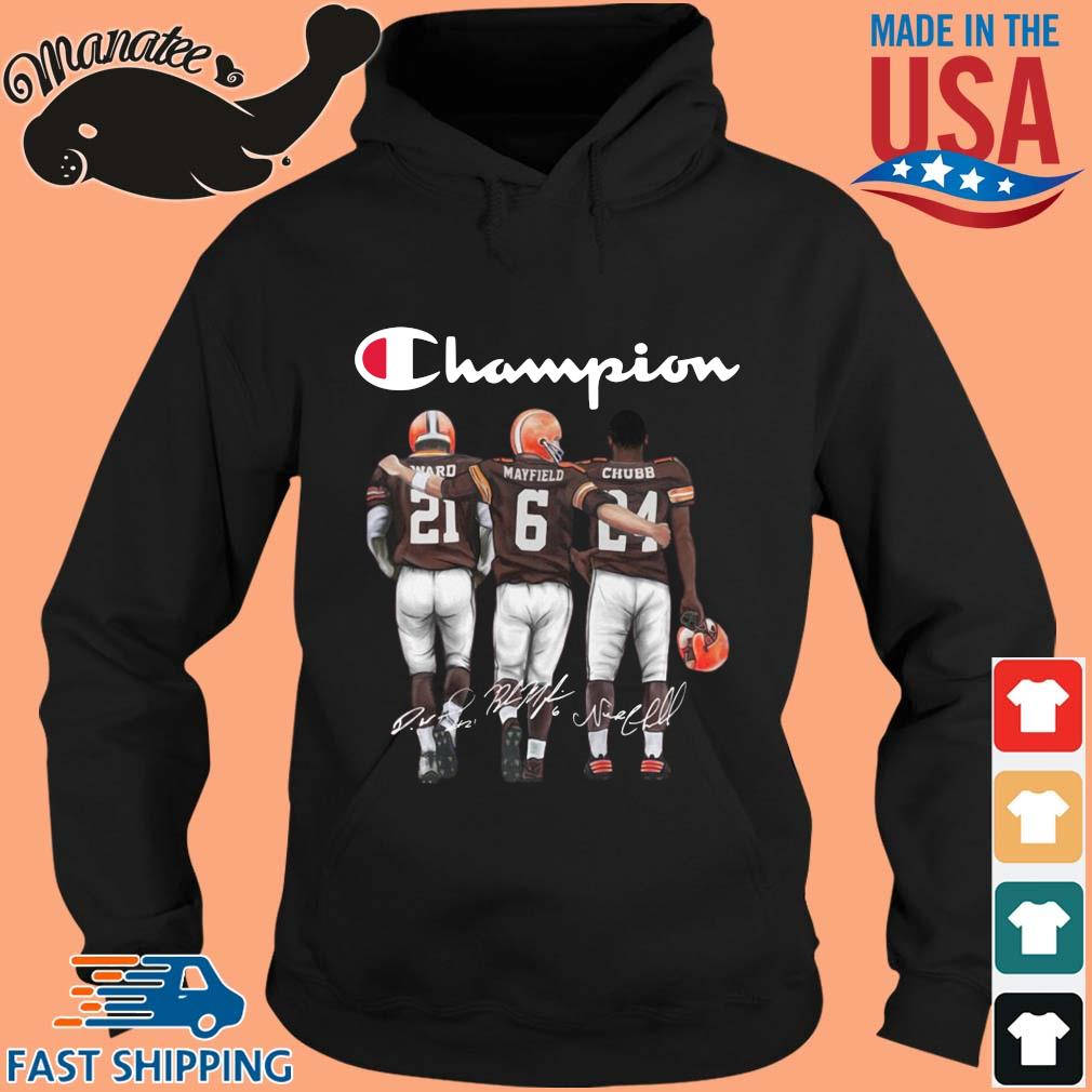 Cleveland Browns Champion Denzel Ward Baker Mayfield Nick Chubb Signatures Shirt hoodie den