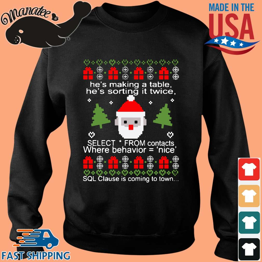 He's making a table he's sorting it twice Ugly Christmas sweater Sweater den