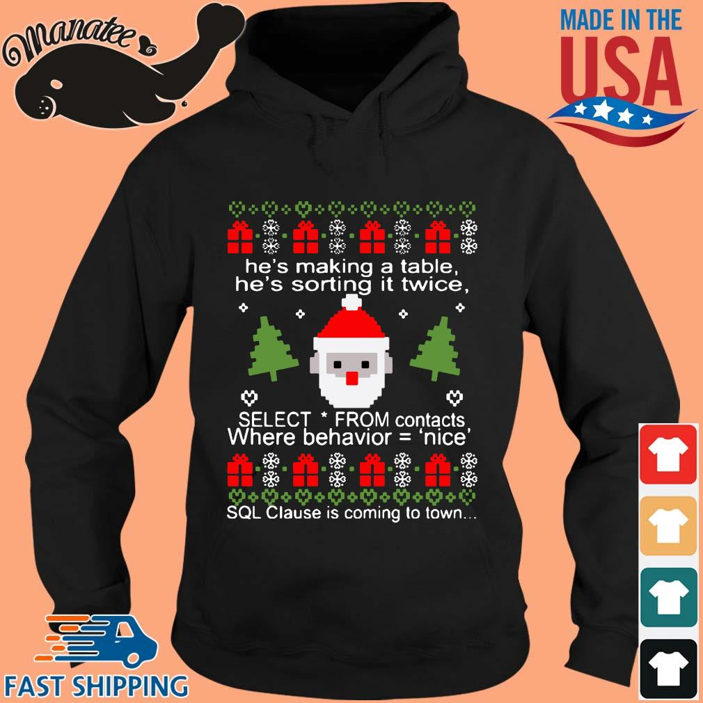 He's making a table he's sorting it twice Ugly Christmas sweater hoodie den