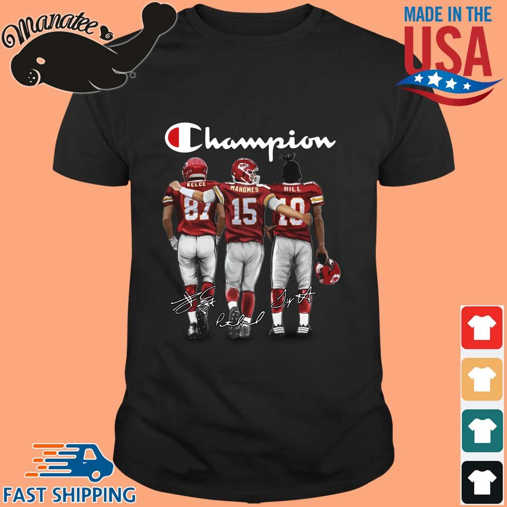 Kansas City Chiefs Champion Kelce Mahomes Hill signatures shirt