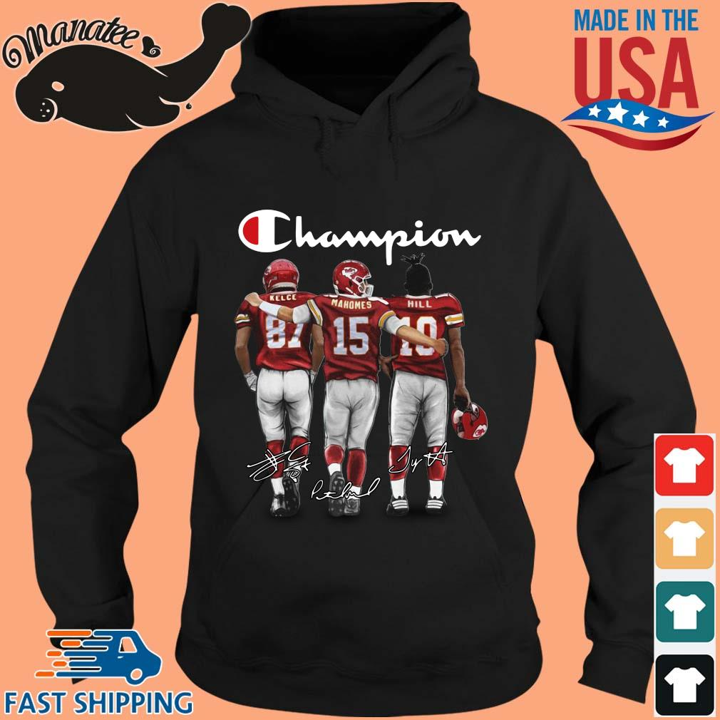 Kansas City Chiefs Champion Kelce Mahomes Hill signatures s hoodie den