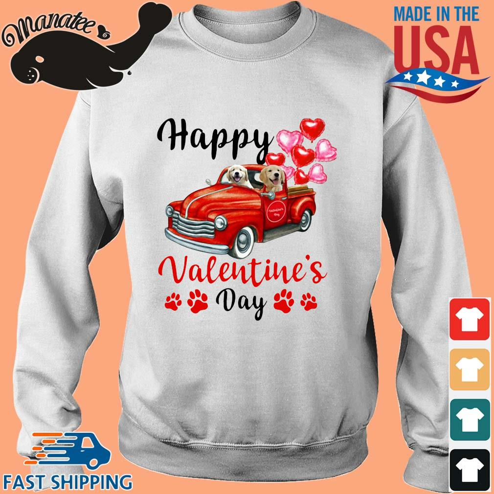 Labrador driving truck happy Valentine's day s Sweater trang
