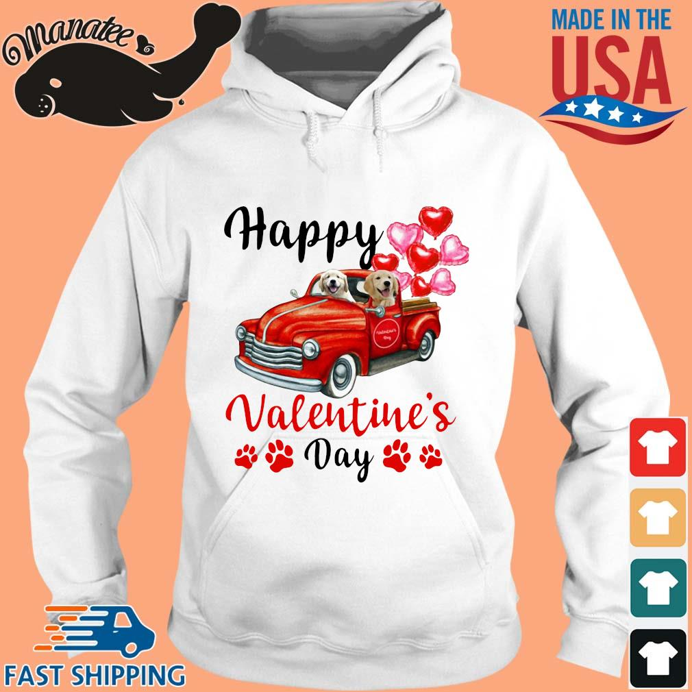 Labrador driving truck happy Valentine's day s hoodie trang