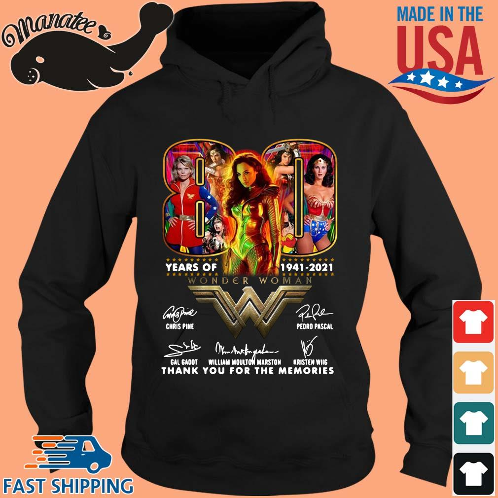 Official Wonder Woman 80 years of 1941-2021 thank you for the memories signatures s hoodie den